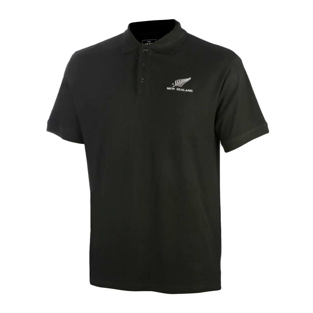 Black Polo Shirt with New Zealand silver fern logo