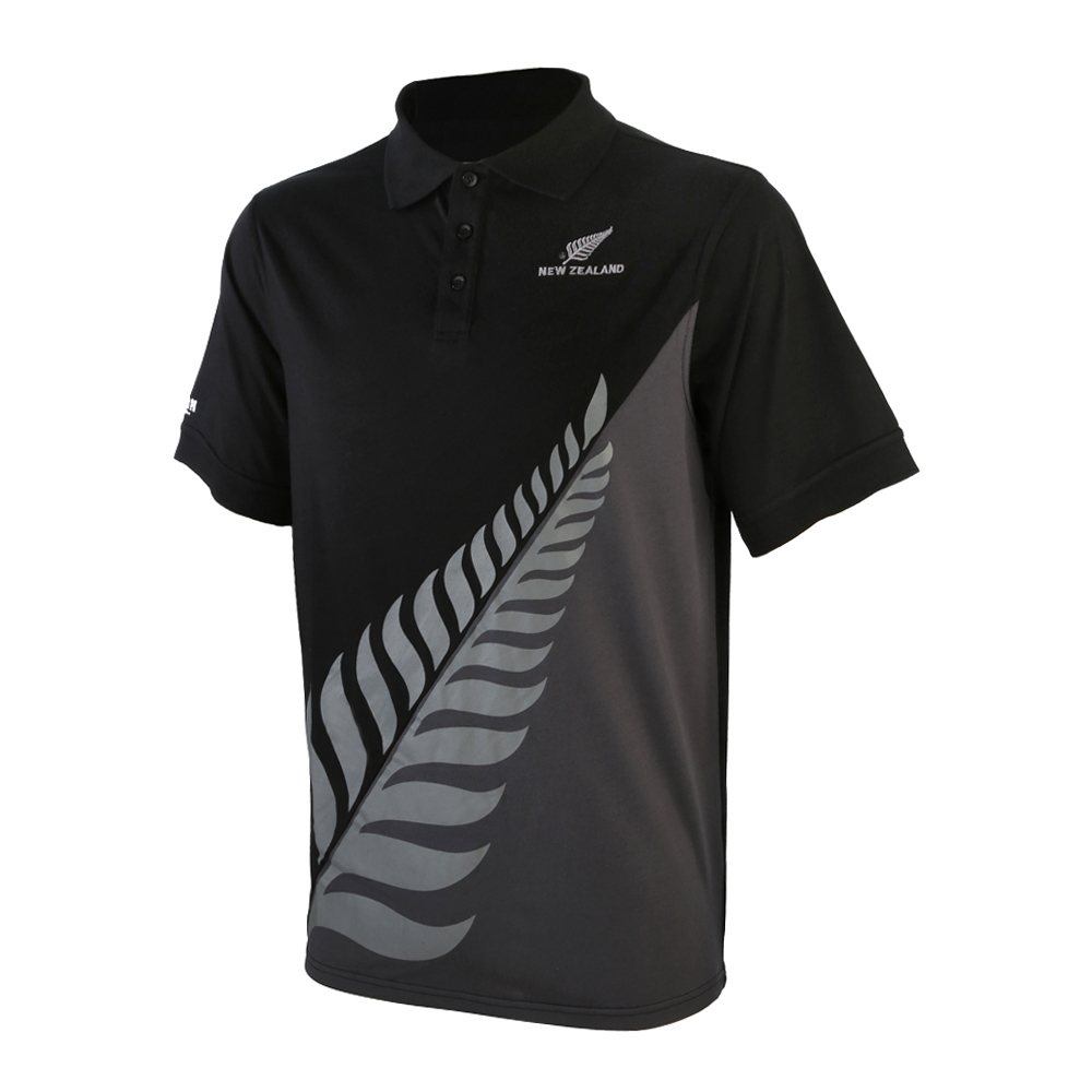 Grey/Black Polo with New Zealand silver fern logo