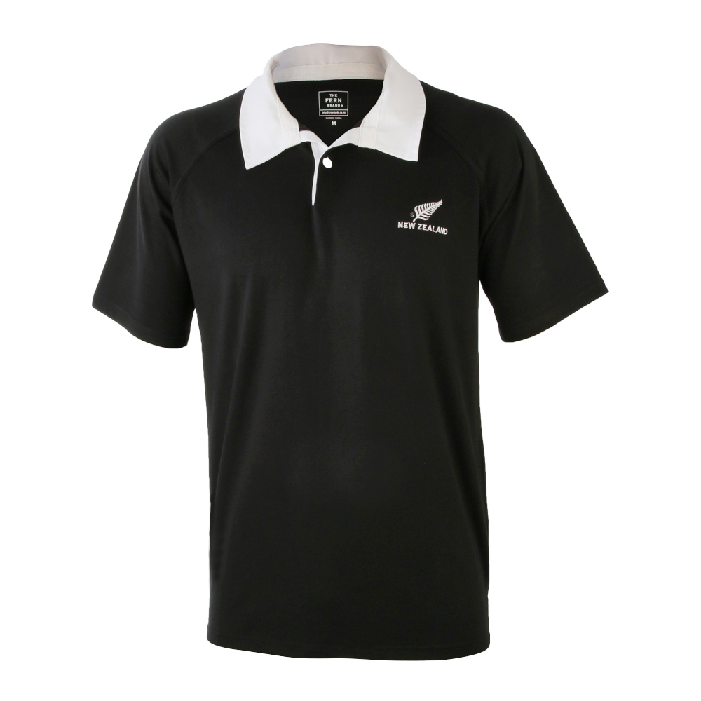 Adults Black with White Collar Rugby Jersey