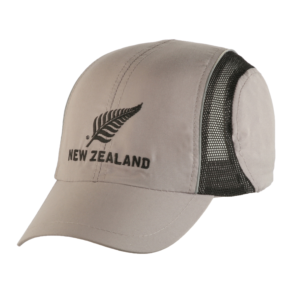 Microfibre Baseball style Cap Silver/Grey with black mesh with New Zealand Silver Fern Logo