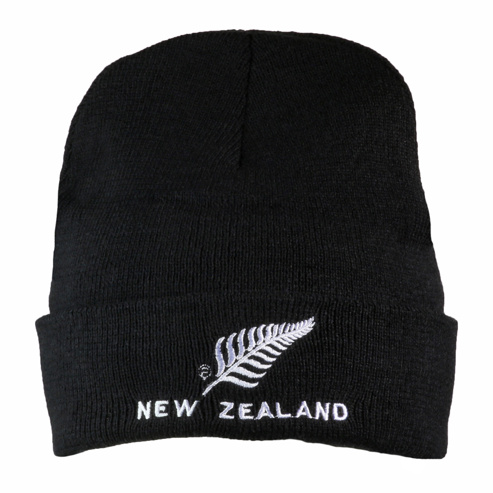 Rolled Beanie New Zealand Silver Fern Logo