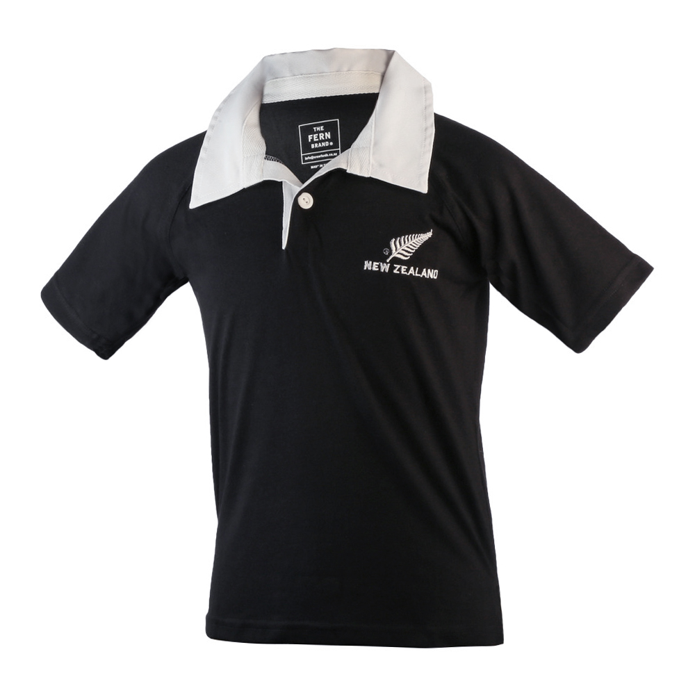 Kids New Zealand White Collar Rugby Jersey