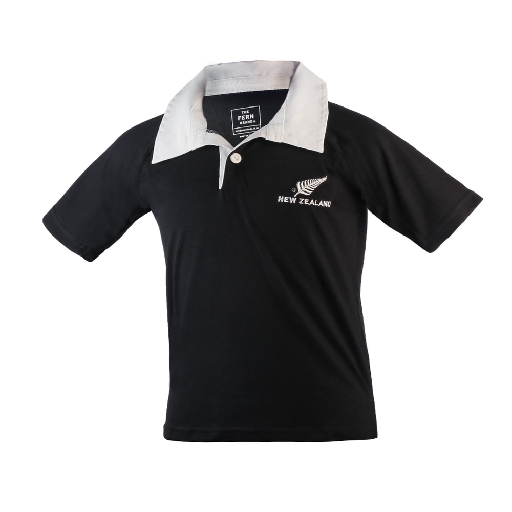 Infants Black with White Collar Rugby Jersey, 35% Cotton/65% Polyester with New Zealand Silver Fern Logo, drill collar, single button loop. 9mths, 12mths 18mth sizing