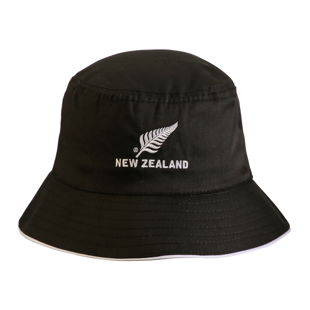 Black Bucket hat with New Zealand silver fern logo
