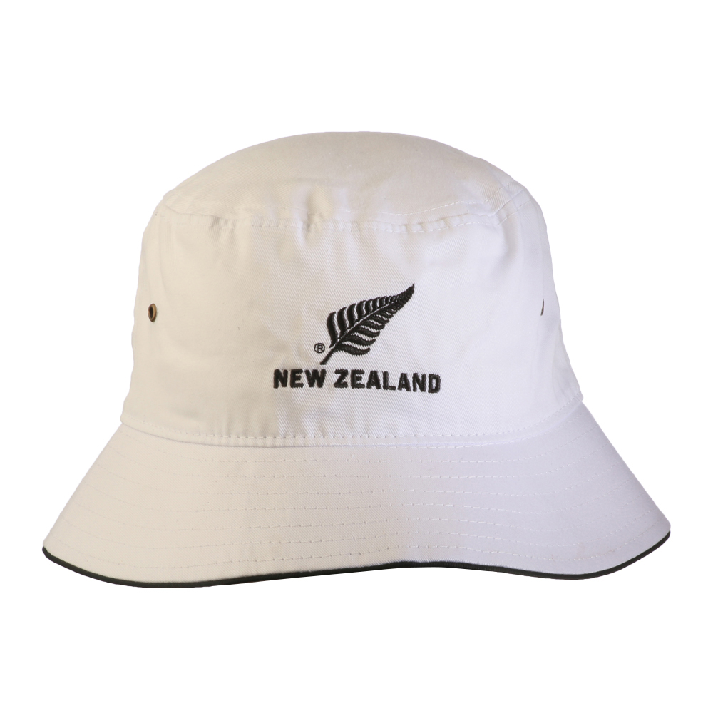 White Bucket hat with New Zealand silver fern logo