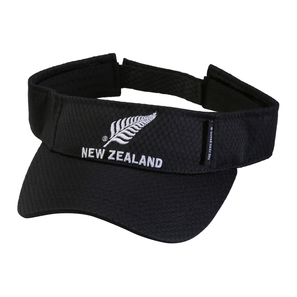 Black Visor with New Zealand silver fern logo