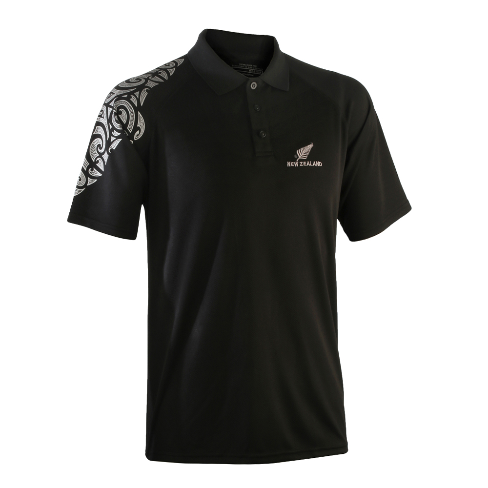 active Black Polo with Stingray design on shoulder 100% moisture management polyester