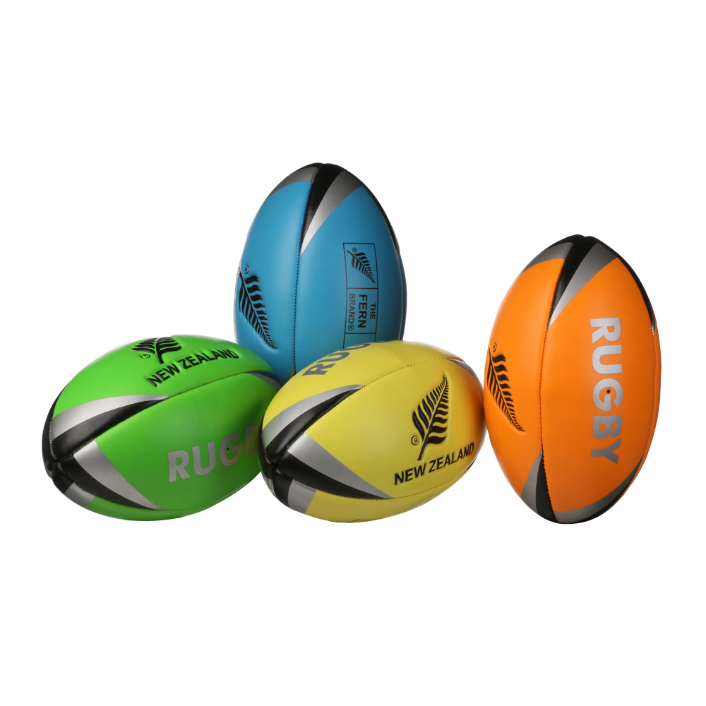 Mini Fluoro Rugby Balls with New Zealand silver fern logo