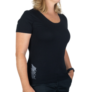 Women's Cotton Fitted Tee with New Zealand Silver Fern brand blend logo